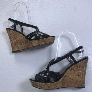 Clarks Size 6 B Strappy Cork Slingback Wedge Heels
